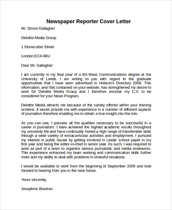 sample cover letters for a job