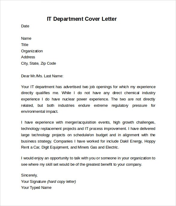 Sample Information Technology Cover Letter Template - 8+ Download