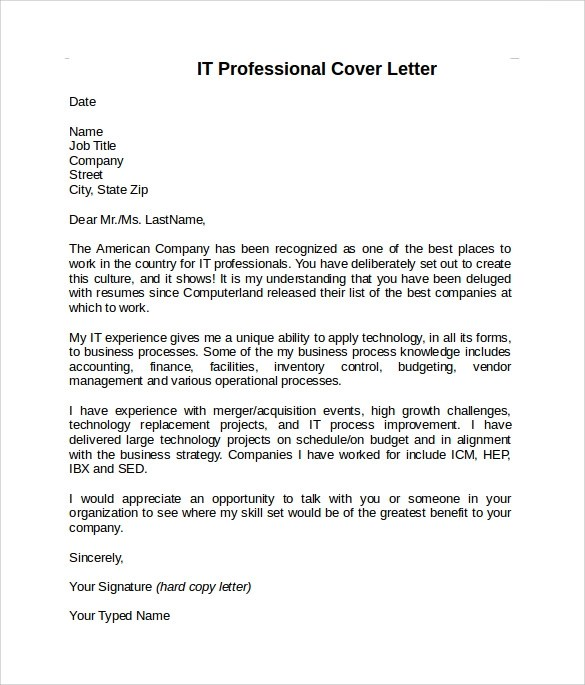 8 Information Technology Cover Letter Templates to Download Sample - professional cover letter template