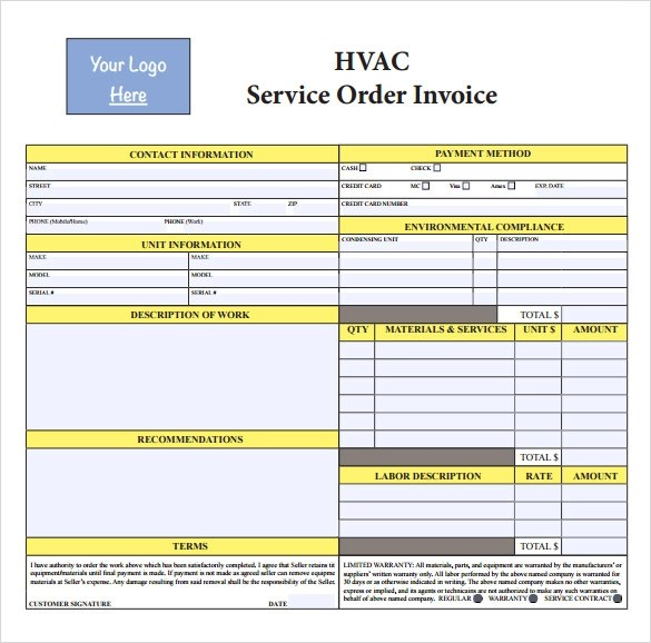 14 HVAC Invoice Templates to Download for Free Sample Templates - Blank Forms Templates