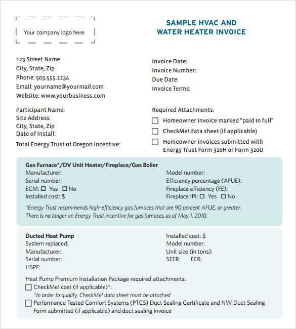 Hvac invoice template free pasoevolist hvac invoice template free saigontimesfo