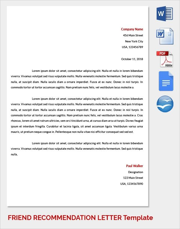 examples of a letter of recommendation for a friend