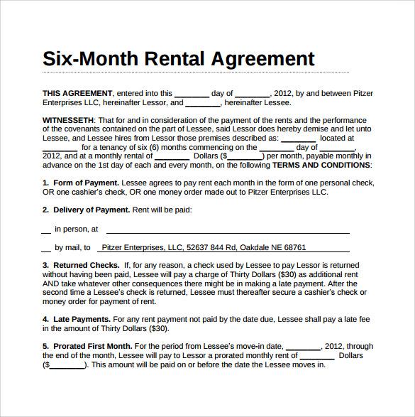 Sample Rental Agreement Document – Rental Agreement Document