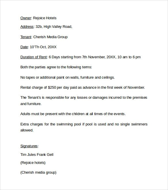 Sample Rental Agreement Letter Template - 12+ Free Documents in Word