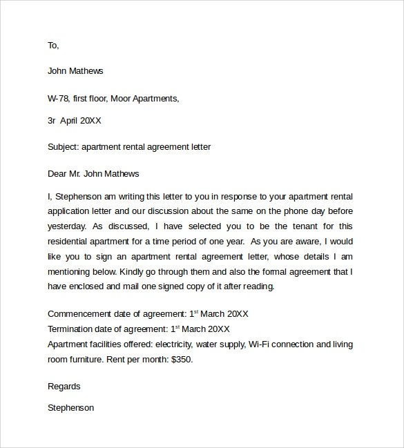 Sample Rental Agreement Letter Template - 8+ Free Documents in - agreement letter
