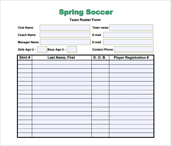 9+ Soccer Team Roster Samples Sample Templates - Sports Roster Template