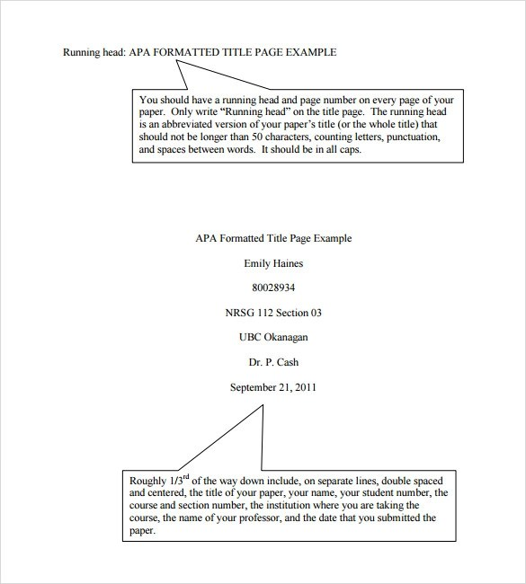 how to format a apa paper