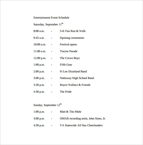 Sample Event Schedule Template - 13+ Free Documents in Word, PDF