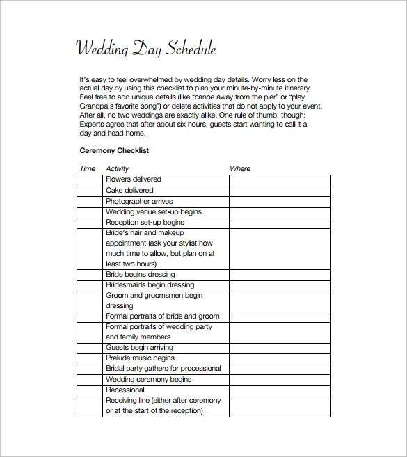 14+ Event Schedule Templates Sample Templates - wedding event timeline template