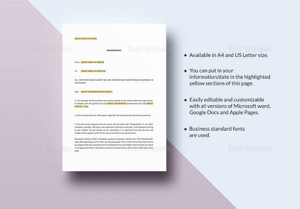 Sample Casual Memo Letter - 8+ Examples, Format - casual memo letter template