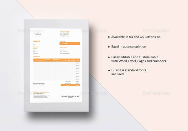 14 Cake Order Form Templates \u2013 Samples, Examples  Formats Sample