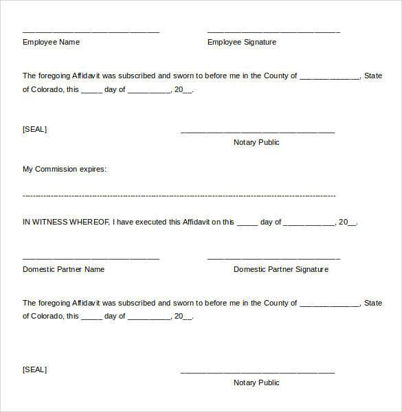 13 Domestic Partnership Agreements to Download Sample Templates - generic affidavit