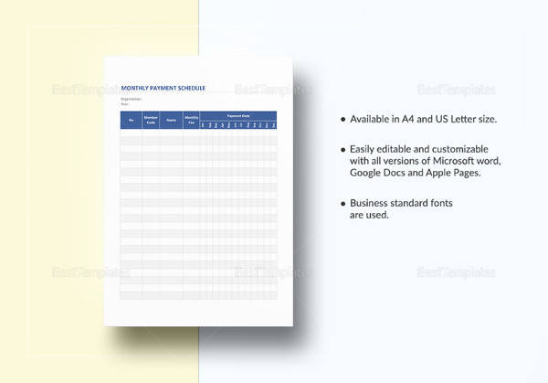 Sample Payment Schedule - 16+ Documents in PDF, Word - sample payment schedule template
