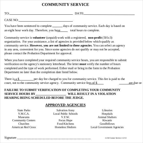 22+ Community Service Letters to Download for Free Sample Templates - school volunteer form template