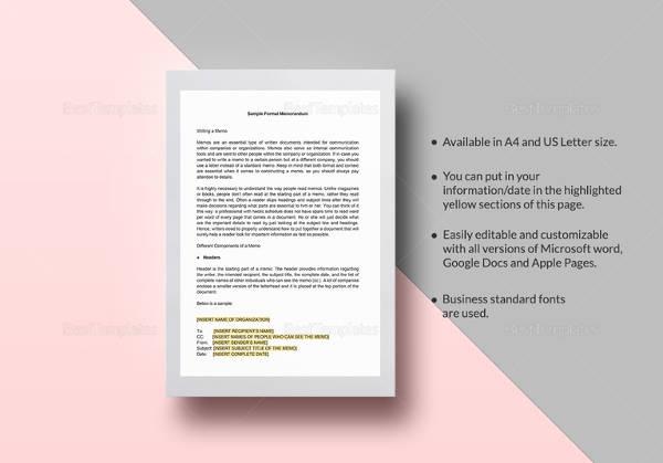 17+ Formal Memorandum Templates - Free Sample, Example, Format - formal memo template
