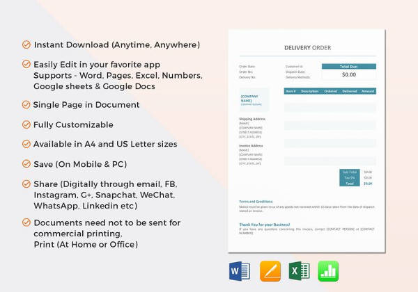 delivery order form template - Josemulinohouse