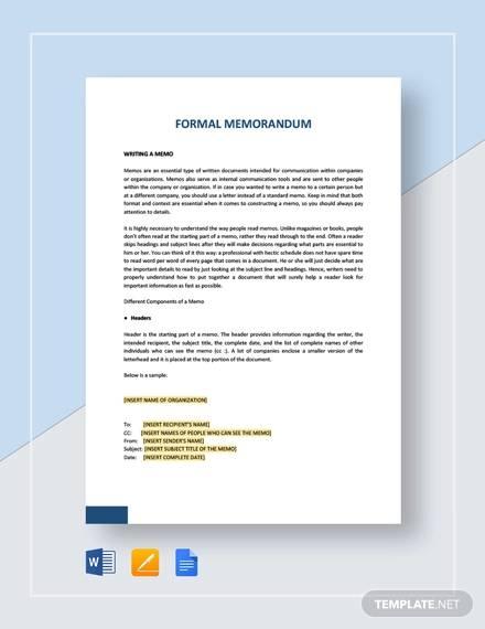 8 Formal Memos - Sample Word, Google Docs Format Download