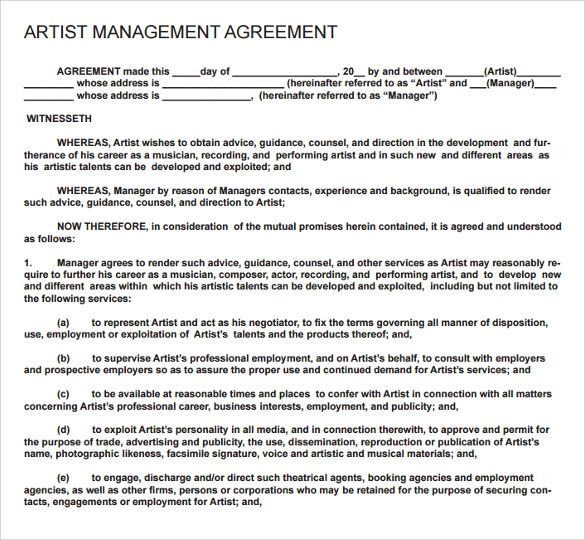 artist management contract template free
