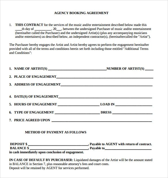 Booking Agent Contract Template Sample Agency Agreement Template - agent agreement template free