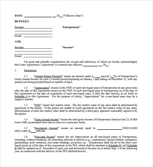Business Investor Agreement Template | Create Professional Resumes