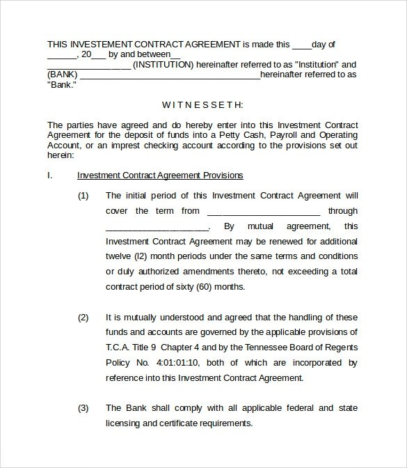 Investment Contract Template  NodeCvresumePaasproviderCom