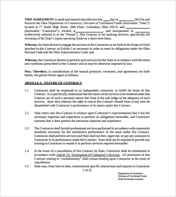 Investor Agreement Template Free cv01billybullockus – Investor Contract Template Free