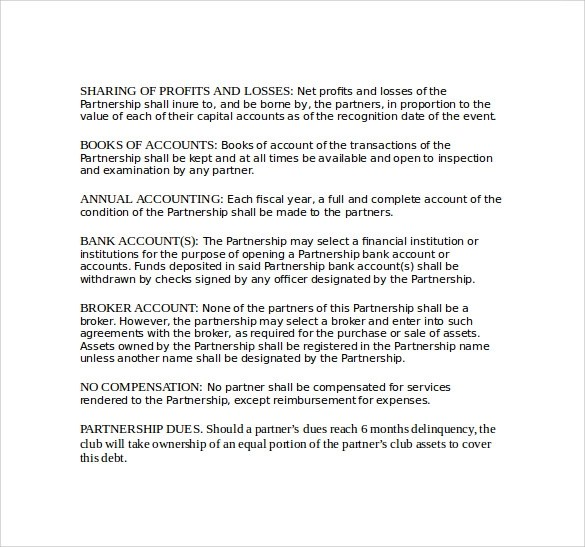 partnership contract sample - Goalgoodwinmetals