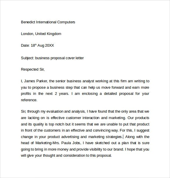 Sample Business Cover Letter Template - 8+ Download Free Documents - business proposal cover letter