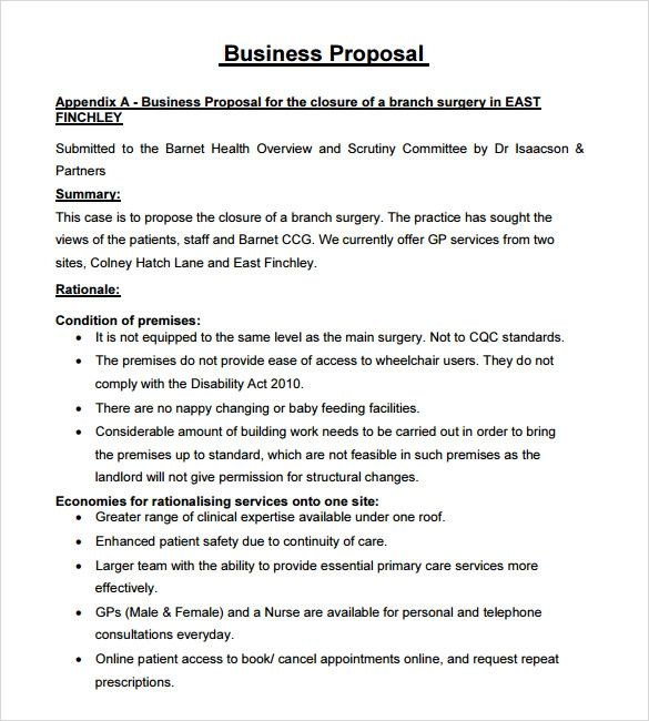 samples of written business proposals