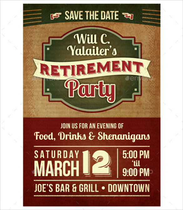 11+ Retirement Party Flyer Templates to Download Sample Templates - invitation template publisher