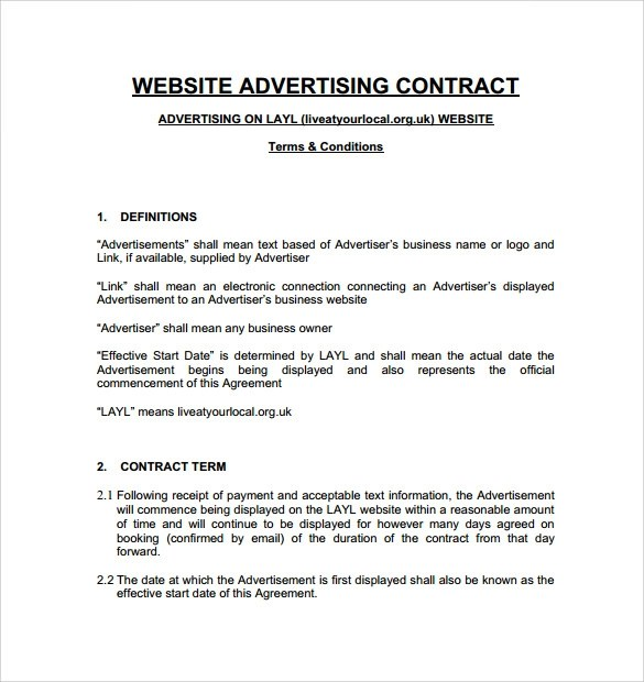 Advertising Contract Template - 7+ Download Free Documents In PDF - advertising contract template