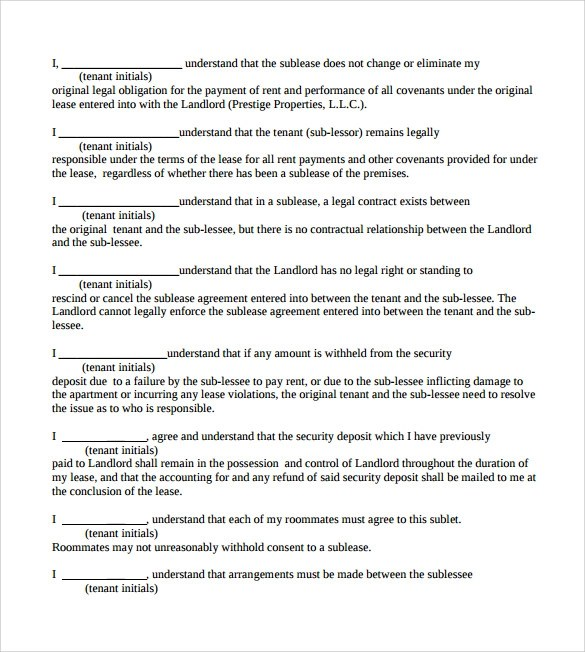 8 Sample Sublease Contract Templates to Download Sample Templates