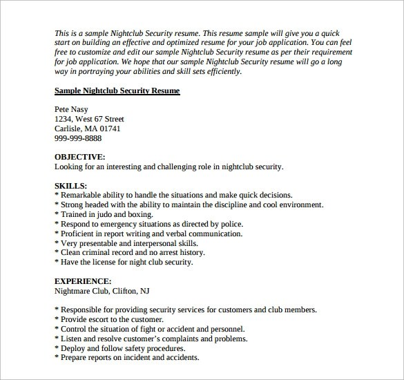 Police Resume Sample 12 Security Resume Templates | Sample Templates
