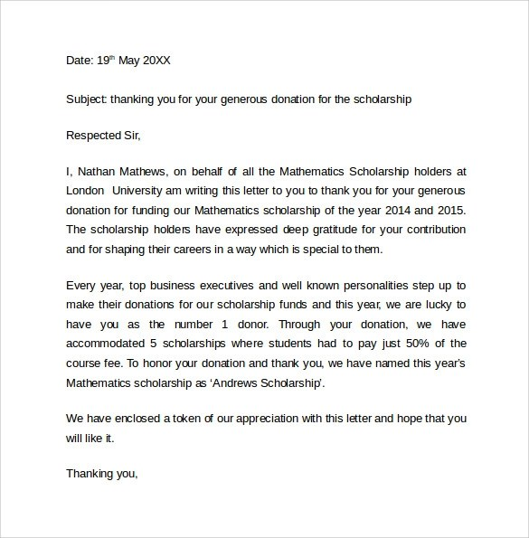 Example Of Thank You Letter – Scholarship Thank You Letters