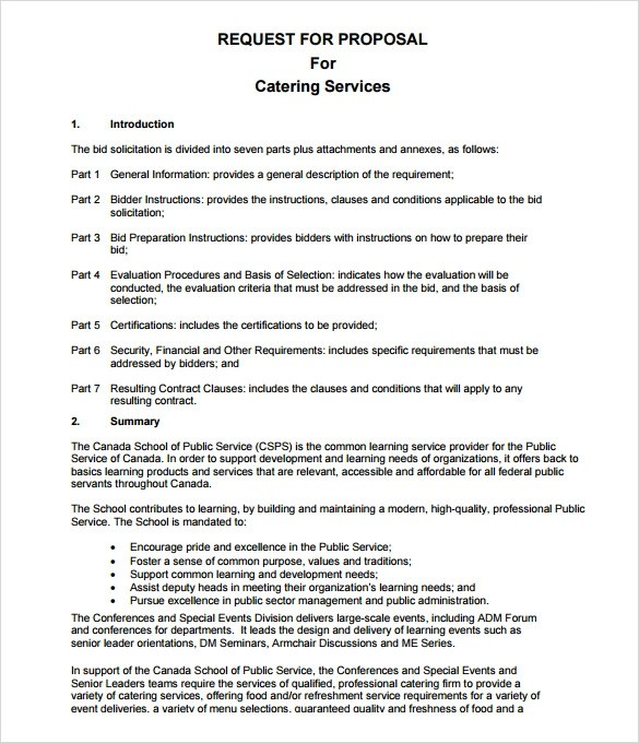 7+ Catering Proposal Samples Sample Templates - catering proposal letter