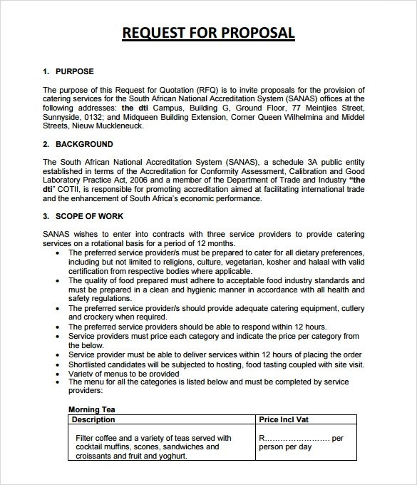 Sample Catering Proposal - 6+ Documemts in PDF , Word - sample catering proposal template