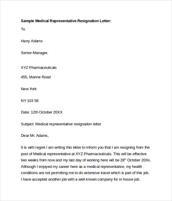 Resignation Letter Format Due To Medical Reason | Job Cover Letter
