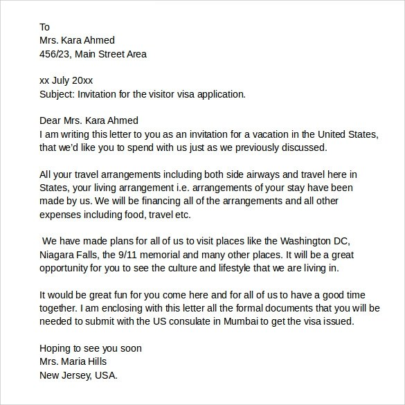 Invitation letter for family visitor visa usa invitationswedd invitation letter for tourist visa friend how when to write a stopboris Images