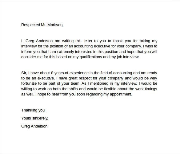 9 Interview Follow Up Letters to Download Sample Templates - follow up letter after resume
