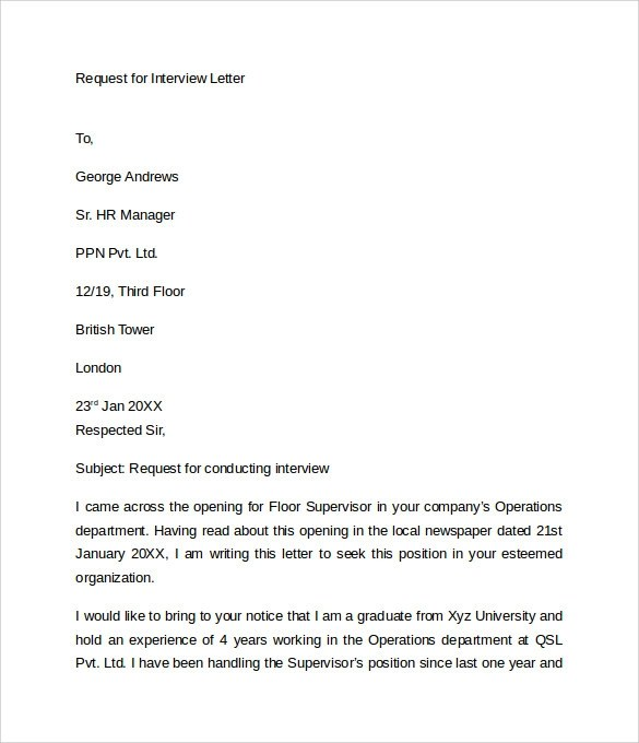 request letter for interview - Towerssconstruction