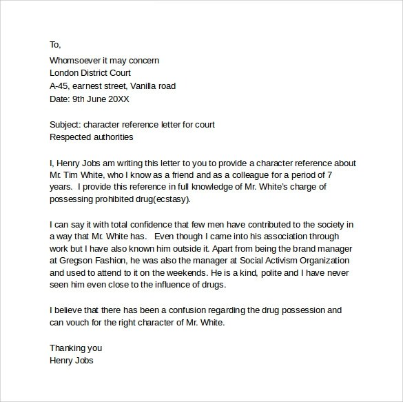 8+ Character Letter Templates For Court \u2013 PDF, Word Sample Templates - character letter for court template