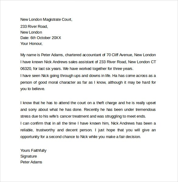 How To Write A Reference Letter Sample Character Letter For Court Templates 8 Download