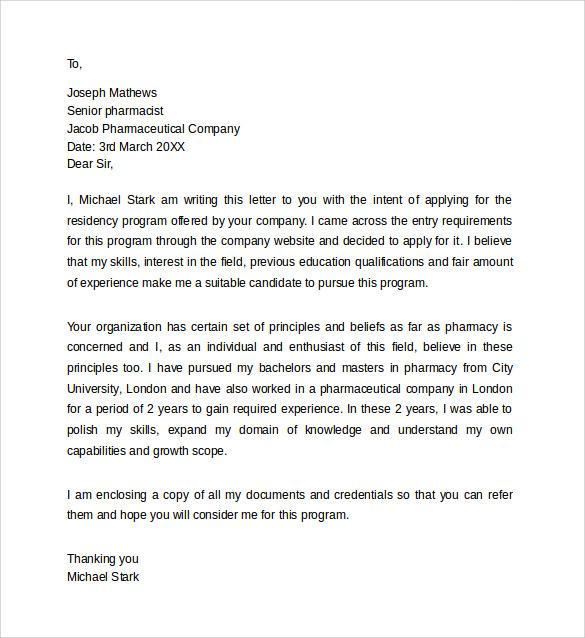 Pharmacy Letter Pharmacy Residency Letter Of Intent Example - sample pharmacy residency letter of intent