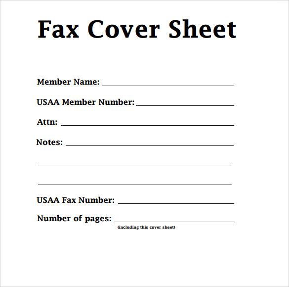 fax face sheet