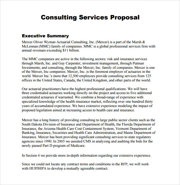 Consulting Services Proposal Template | Sample Customer Service Resume