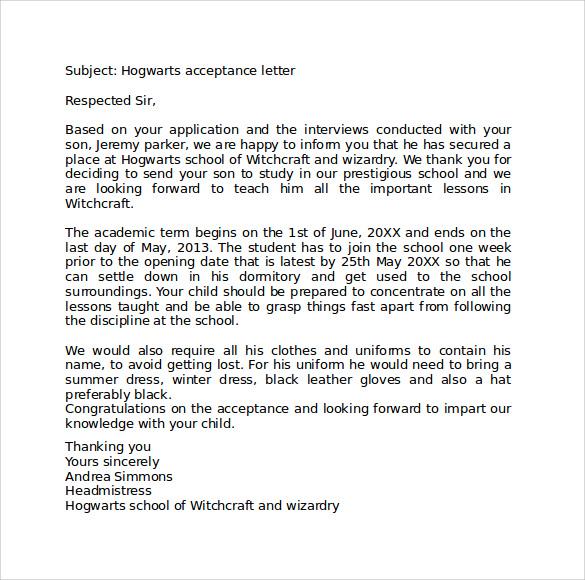 Sample Hogwarts Acceptance Letter - 8+ Download Documents in PDF