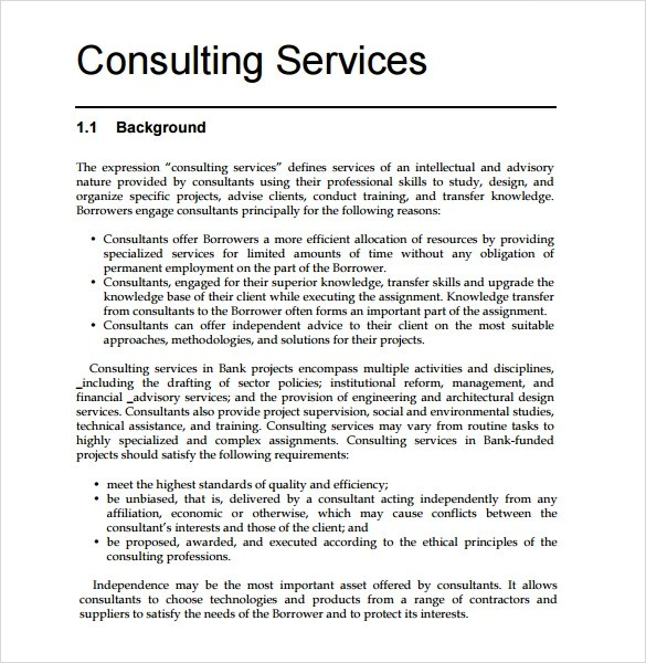 9+ Sample Consultant Proposals Sample Templates - services proposal template word