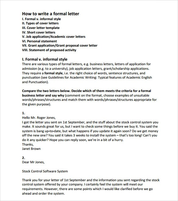 Formal Letter 7 Formal Letter Format Academic Resume Template - formal letters