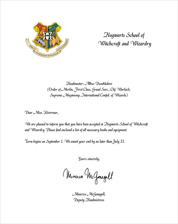 6 Hogwarts Acceptance Letters to Download for Free Sample Templates