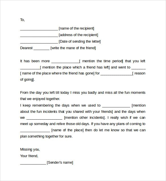 Friendly Letter Format Template Sample Of Friendly Letter - friendly letter format template